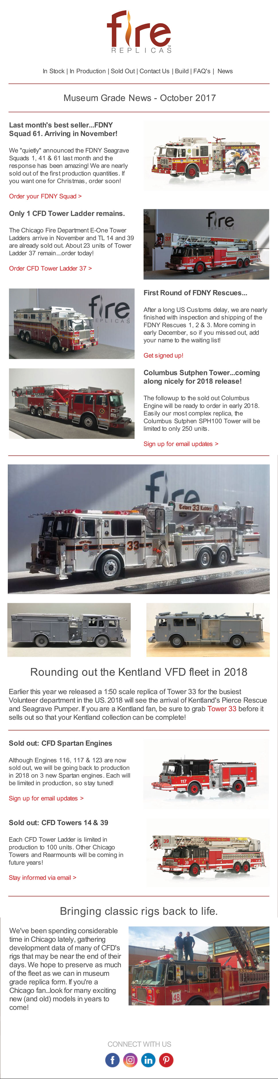 Fire Replicas October News