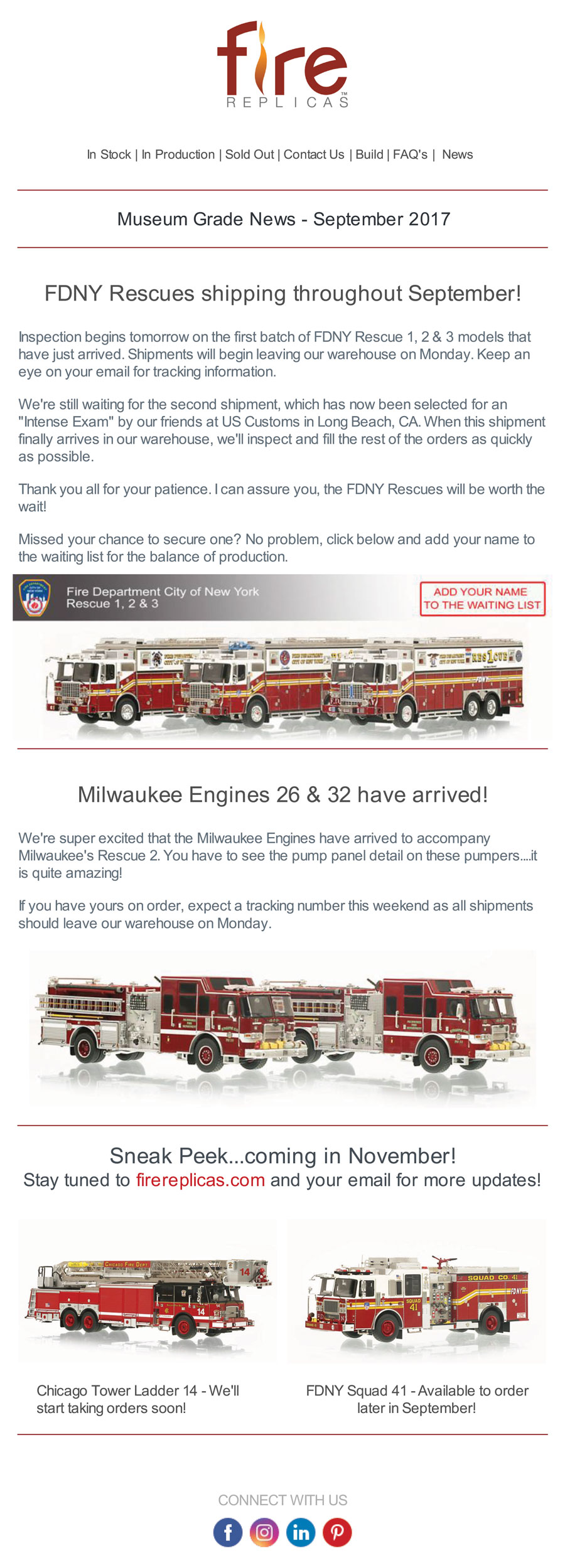 Fire Replicas September Newsletter has arrived!