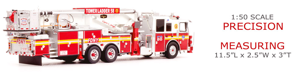 FDNY Tower Ladder58 features 1:50 scale precision