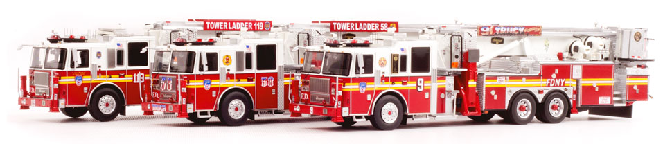 FDNY Tower Ladders 9, 58, and 119
