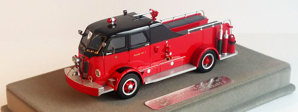 Chicago Fire Department 1954 Autocar Squad is comprised of over 250 hand-crafted parts.