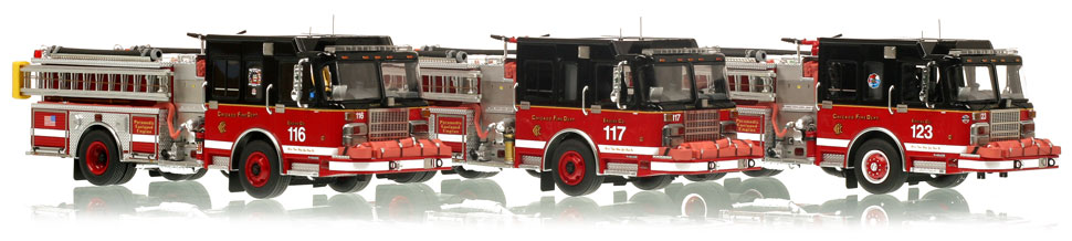 Chicago Fire Department Spartan Engines 116, 117 & 123.
