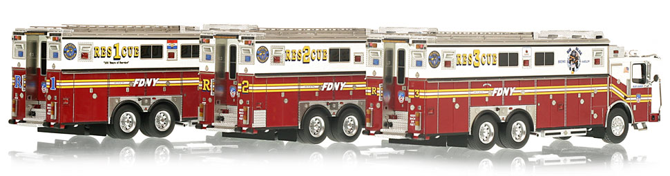 FDNY Rescues 1, 2 & 3 museum grade scale models