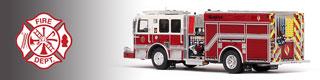 Demo/Stock unit scale model fire trucks.