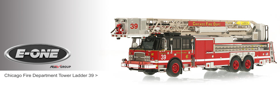 Shop museum grade E-One scale models including Chicago Tower Ladder 39!