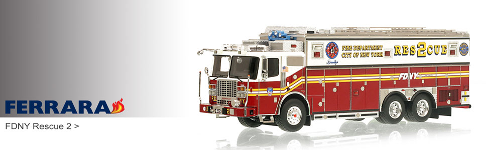 Shop museum grade Ferrara scale models including FDNY Rescue 2!