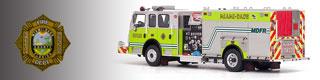 Miami-Dade Fire Department scale model fire trucks