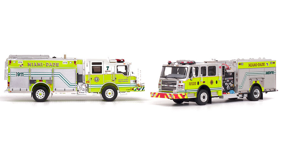 Museum grade replicas of MDFR's Pierce PUC 7 and Rosenbauer Commander Engines