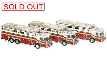 1:50 museum grade scale models of FDNY Rescues 1, 2 & 3