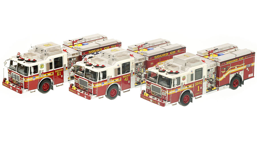 1:50 museum grade scale models of FDNY Squads 1, 41 & 61