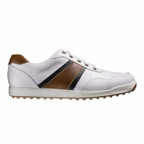 FootJoy Contour Casual Men's Spikeless Golf Shoes - White/Brown [Manufacturer Discontinued]