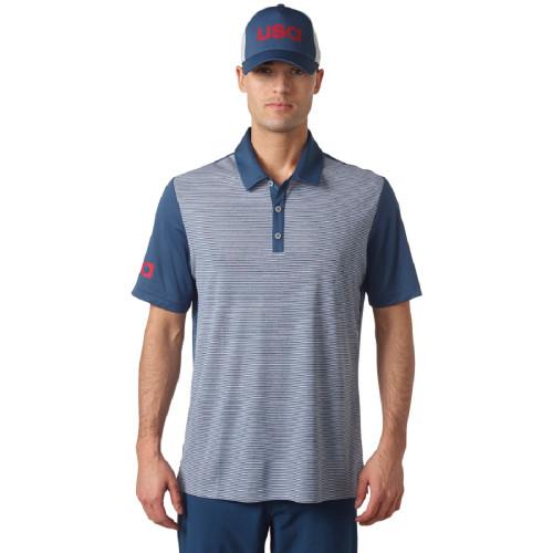 adidas Golf ClimaChill USA Heather Stripe Polo - Mineral/Blue