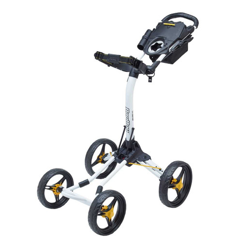 Bag Boy Quad XL 4-Wheel Golf Push Cart (White/Yellow)