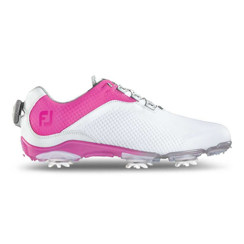 FootJoy CLOSEOUT D.N.A. BOA Women's Golf Shoes - White/Fuchsia