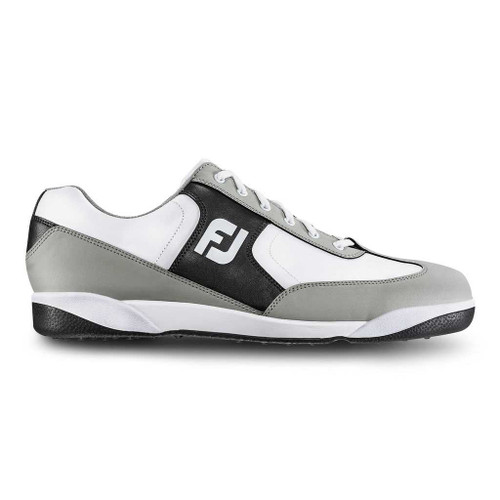 FootJoy GreenJoys Retro Men's Spikeless Golf Shoes (Manufacturer Closeout) White/Grey/Charcoal