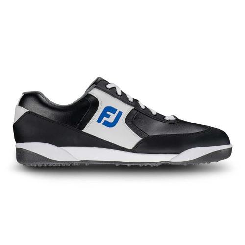 FootJoy GreenJoys Retro Men's Spikeless Golf Shoes (Manufacturer Closeout) Black/White/Royal