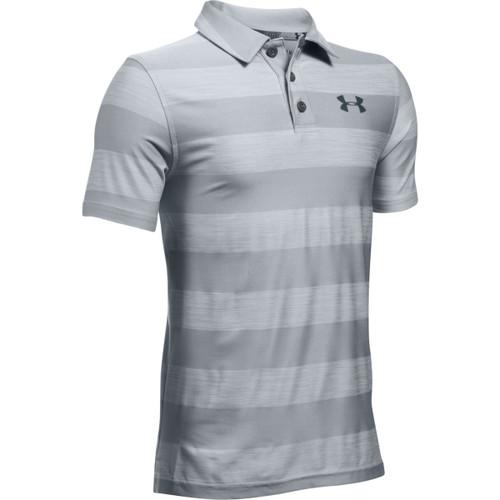 Under Armour Boys' Composite Stripe Polo - Overcast Gray/Stealth Gray