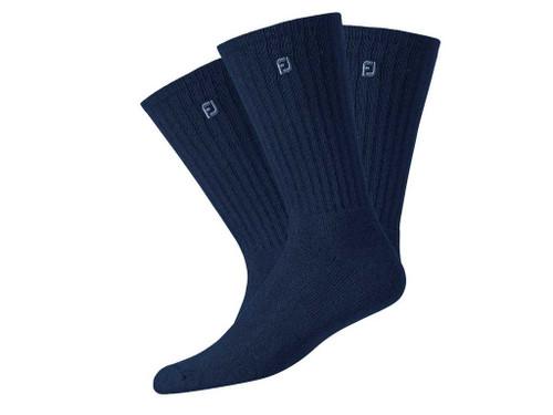 FootJoy ComfortSof Men's Crew Socks (3 Pair) Shoe Size 7-12 - Navy