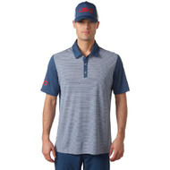 adidas Golf ClimaChill USA Heather Stripe Polo - Mineral/Blue