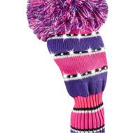 Driver Headcover - Sparkle Multicolored Wide Stripe - Pink/Purple/Black/White