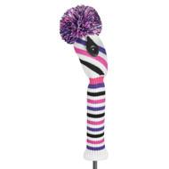 Fairway Wood Headcover - Placed Diagonal Stripe - Pink/Purple/Black/White