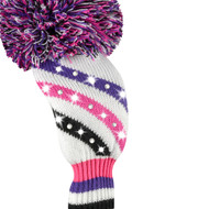 Fairway Wood Headcover - Sparkle Placed Diagonal Stripe - Pink/Purple/Black/White