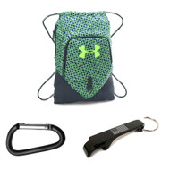 Under Armour Undeniable Sackpack w/ USA Bottle Opener + Carabiner - Green Light/Stealth Gray/Fuel Green