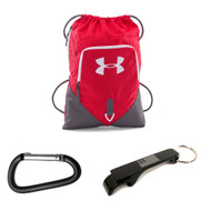 Under Armour Undeniable Sackpack w/ USA Bottle Opener + Carabiner - Red/Graphite/White