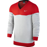 Nike Golf Range CB V-Neck Sweater - University Red/Wolf Grey/Metallic Silver