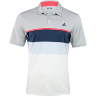adidas Golf ClimaCool Engineered Stripe Polo Shirt - Stone/Shock Red/Mineral Blue