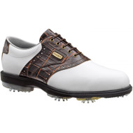 FootJoy DryJoys Tour Men's Golf Shoe White/Dark Brown Gator