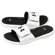 Under Armour Men's UA Ignite IV Slide Sandals - White/Black - Pair