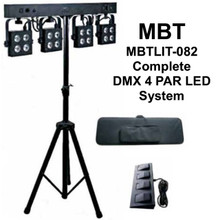 MBT MBTlit-082 complete DMX 4 par LED light system $30 Instant Coupon use Promo Code: $30-OFF