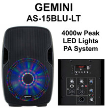 Gemini AS-15BLU-LT 4000w Peak Active Pa System Built In Led Lights USB/SD Media Player Bluetooth $25 Instant Coupon Use Promo Code: $25-Off