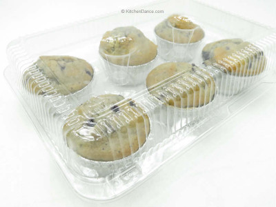 6 Count plastic hinged Muffin Container #CPC-76