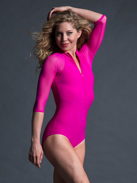 Michelle Leotard Sporty Zip Up With Raglan Capped Sleeves