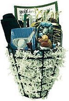 Golf gift basket arrangement with novelty book, salty snacks, chocolates, caramels, cookies, and a personalized golf towel