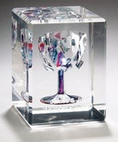 Hand cast cube embedded with each chard of glass by hand, personalized with couple's names and wedding date