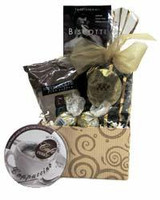 Coffee themed gift basket arrangement with coffees, biscotti, espresso caramels, truffles, and cappuccino hard candy