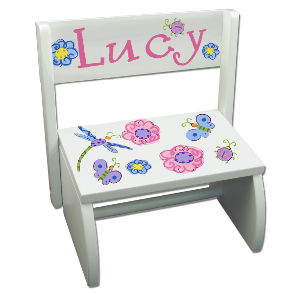 Personalized wooden step stool for toddlers hand painted with recipient's name and design theme