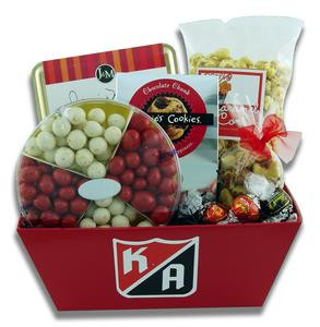 Company branded gift basket presentation filled with candy, cookies, and other snacks