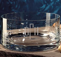 Personalized crystal bowl with initials or monogram and choice of engraving style