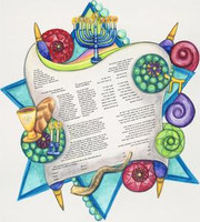 Personalized Ketubah with Hebrew names, dates, place, and artwork that reflects love for one another and Jewish faith