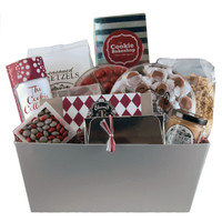 Gift basket with a variety of sweet and salty snacks with proceeds supporting St. Jude Children's research hospital
