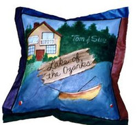 Hand painted pillow with northwoods theme and personalized with family name and optional name of lake