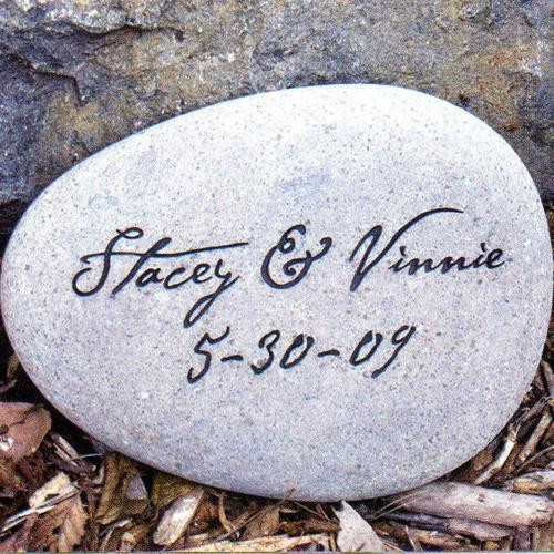 Personalized garden stones with up to two lines of engraving, and the choice of two stone colors and shapes
