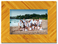 Personalized bamboo photo frame engraved with one or two lines and up to 20 characters per line