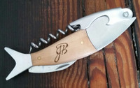 Hand crafted fish shaped corkscrew made of white oak and steel hardware and personalized with recipients initials