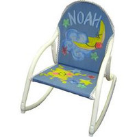 Hand painted rocking chair for young children with name and hand painted design theme