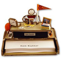 Personalized note paper holder with a name plate and up to five handmade custom replicas